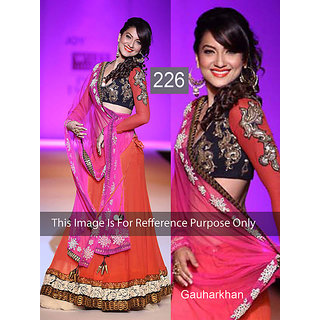 35e2fcfe20eca Gauhan Khan In Orange Lehenga On Ramp In India - Shopclues Online