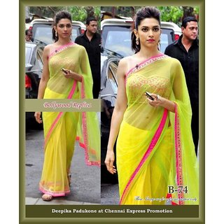 f628d1a8940f0 Deepika Padukone In Neon Green Saree With Pink Heavy Blouse Prices ...