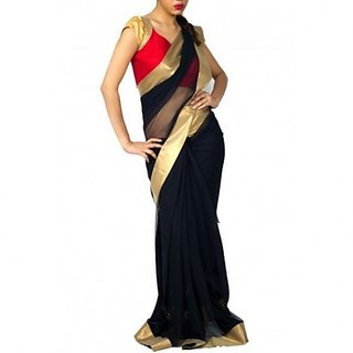 82f107fb9ea2a Black Net Saree With Gold Border Prices in India- Shopclues- Online ...
