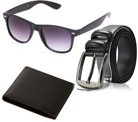 Random Mens Belt Wallet and Black Wayfarer Sunglass Combo