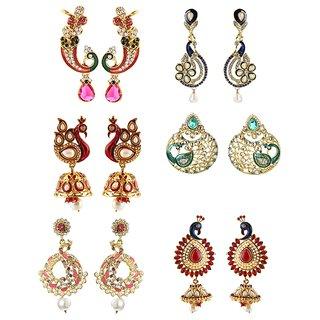 Kriaa shimmering pecock design gold plated  Set of 6 earrings combo - 1001918