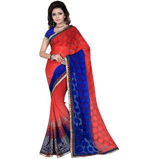 Karishma Blue & Red Georgette Plain Saree With Blouse