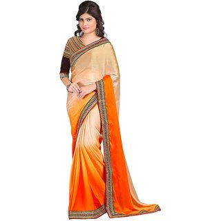 Karishma Beige & Orange Satin Plain Saree With Blouse