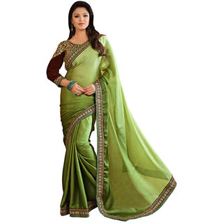 Karishma Dark Green Satin Saree With Heavy Blouse