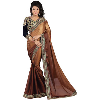 Karishma Brown Satin Plain Saree With Blouse