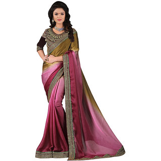 Karishma Maroon  Brown Satin Saree With Heavy Blouse