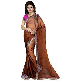 Karishma Brown Satin Plain Saree With Blouse