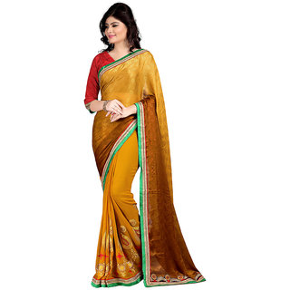 Karishma Brown & Yellow Georgette Plain Saree With Blouse