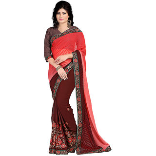 Karishma Embroidered Pink  Brown Jacquard Heavy Work Saree
