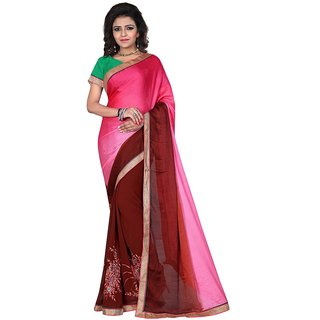 Karishma Thread Embroidered Magenta  Brown Jacquard Saree