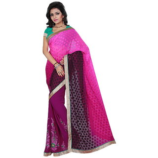 Karishma Pink Jacquard Plain Saree With Blouse