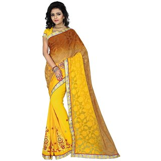 Karishma Thread Embroidered Yellow  Beige Jacquard Saree