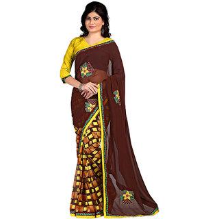 Karishma Multicolor Georgette Checks Saree With Blouse
