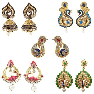 Kriaa alluring birds gold plated  Set of 5 earrings combo - 1001920