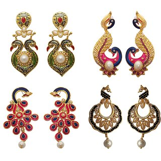 Kriaa sleek cute peacock birds gold plated  Set of 4 earrings combo - 1001921