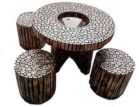 Shilpi Round Folding Wooden Log Slices Coffee Table Set