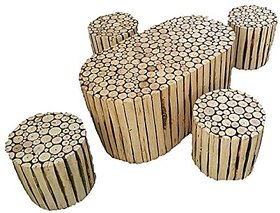 Shilpi Natural Log Slices Coffee Table With Four Stools