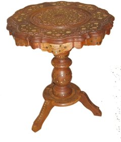 Shilpi Wooden Decorative Carved Table with Brass  Copper Inlay Heavy Pillar for Decor,Room Decor,Office Decor,Gift Item,