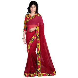 Karishma Maroon & Pink Georgette Dotted Saree With Blouse