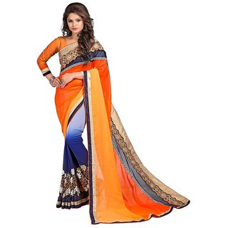 Karishma Orange  Blue Georgette Heavy Resham Work Saree
