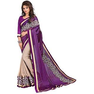 Karishma Purple & Beige Satin Plain Saree With Blouse