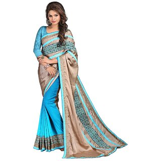 Karishma Beige & Turquoise Satin Plain Saree With Blouse