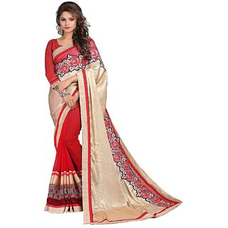 Karishma Beige  Red Satin Heavy Patch Work Saree