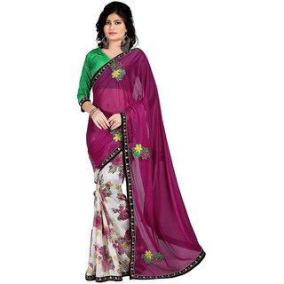 Karishma Pink & Cream Lycra Floral Saree With Blouse