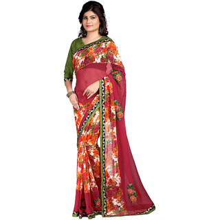 Karishma Printed Red  Orange Georgette Saree