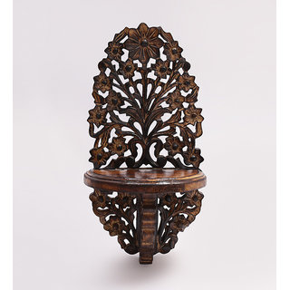 Shilpi Beautiful Wooden Decorative Corner Wall Hanging Bracket Shelf  NSHC0165