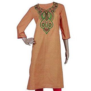 P K Womens Embroidered Cotton A-line Kurta (IT 114 Orange Large)