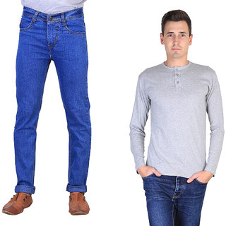 PACK OF X-CROSS JEANS WITH HENELY T-SHIRT FOR MEN(XCR-SM-LB-JEN-GREY-TS-12)