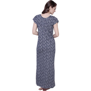 46d8abb9d4 Buy Claura Cotton Floral Full Length Nightdress In Blue Online - Get 56% Off