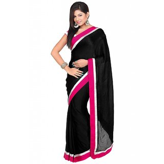 196e7babf8a98 Online Black Saree With Pink And Silver Border Prices - Shopclues India