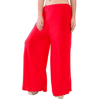 You Forever Womens Solid Red Palazzo Trousers