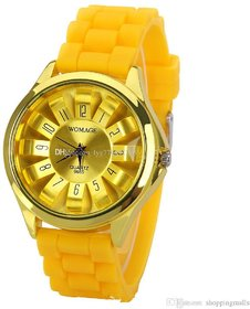 Womage Silicon Jelly Yellow Analog Watch