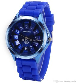 Womage Silicon Jelly Blue Analog Watch