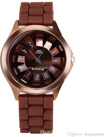 Womage Silicon Jelly Brown Analog Watch