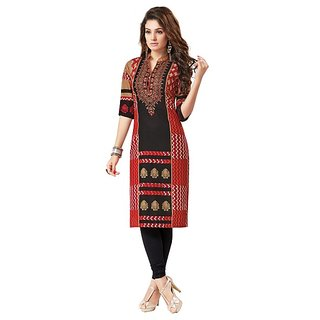 Sachi Womens Red Color Cotton Material Unstitched Salwar Suit