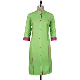 Ladyview Olive Green Plain Cotton Stitched Kurti