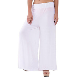 You Forever Womens Solid White Palazzo Trousers