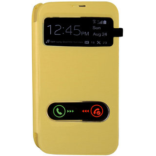 Hi Grade Yellow S View Flip Cover for Samsung Galaxy Core I8262