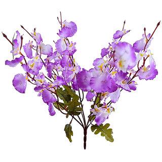 Purple PVC Artificial Flowers Dancing Orchid Single Bunch