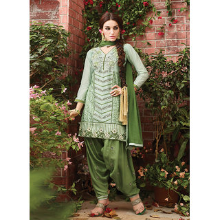 Swaron Green Cotton Embroidered Salwar Suit Dress Material
