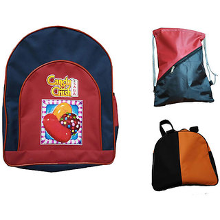 Combo of Kids School bag Tuition bag and Lunch bag
