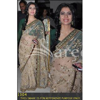 Kajol green  gold net saree - D.NO.1304