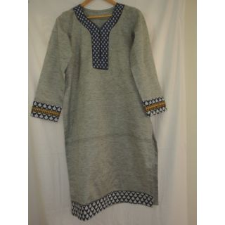 Grey and Indigo Cotton Kurta