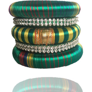 Thick Thread Bangle with Stripe pattern wrap and stone