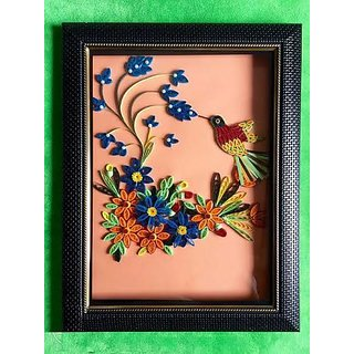 Beautiful Handmade 3D Quilling Paper Frame With Multi Colour