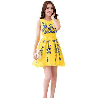 vandvshop Designer Latest Yellow Colour Semi Stitched Western Wear